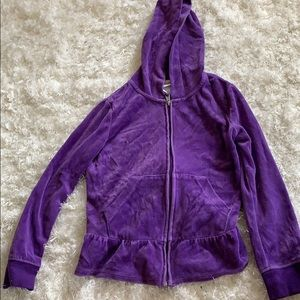 Circo girls purple velvet hooded sweatshirt Medium